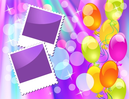 Background with balloons and photo frame Vector