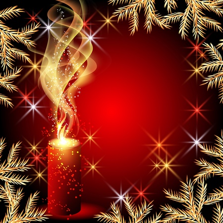 christmas fur tree: Christmas background with candles and stars