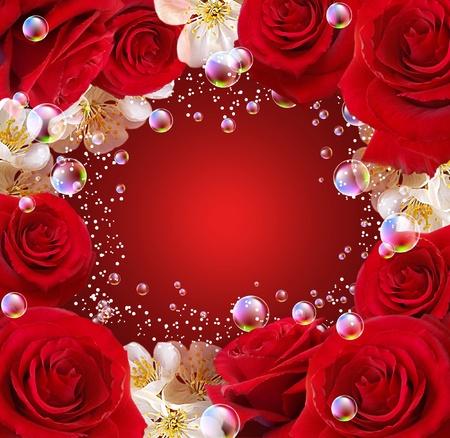 red roses: Rosas, flores blancas y burbujas Foto de archivo