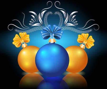 red sphere: Cartolina di Natale con palline blu e giallo