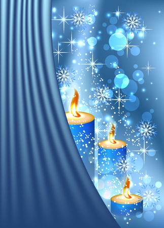 Christmas background with burning candle and curtains Vector