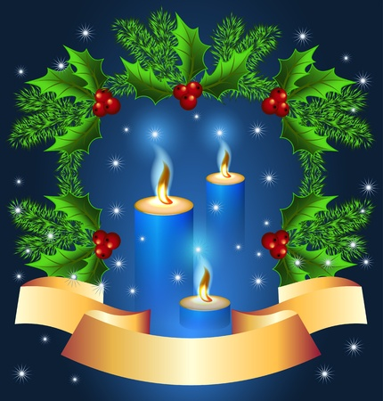 christmas fur tree: Christmas background with burning candle and golden ribbon Illustration