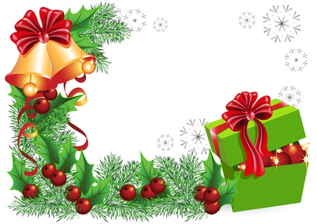 fur trees: Gift box, bells with red bows and Christmas decorations  Illustration