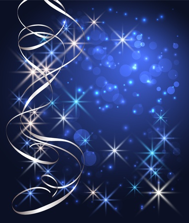shine silver: Christmas glowing background with stars and silver serpentine Illustration