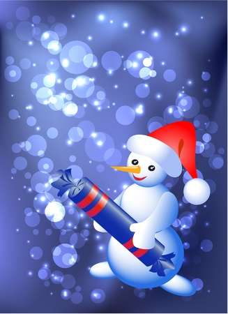 Snowman with candy  Vector