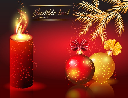 Christmas background with candles and balls Vector
