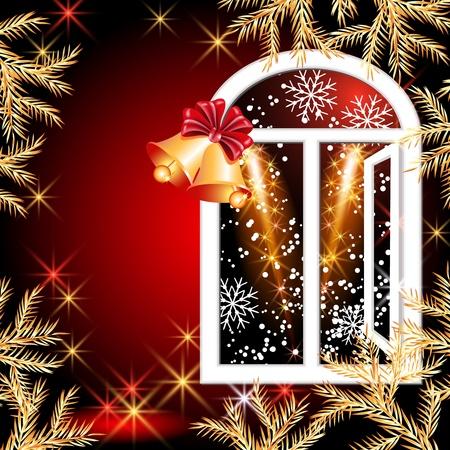 Christmas window with bells Vector