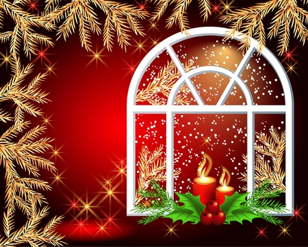 Christmas window with burning candles Vector