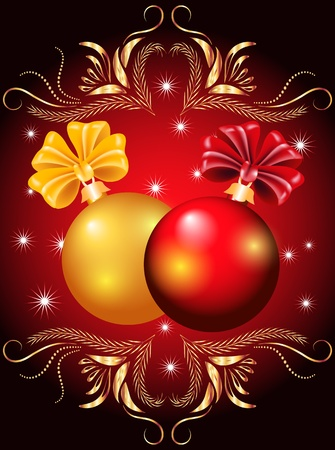 Christmas card with red and yellow balls Stock Vector - 11204802