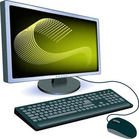 Monitor with keyboard and mouse.