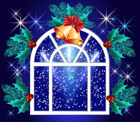 Christmas window with bells and stars Vector