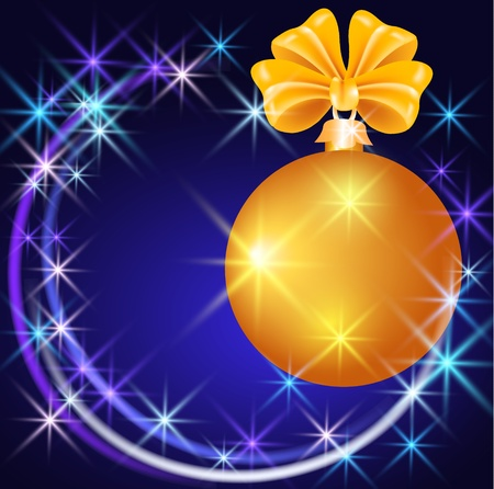 yule: Christmas ball  with  sparkling  stars Illustration