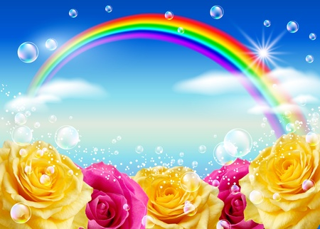 blue bubbles: Roses, rainbow and bubbles against the sky Stock Photo