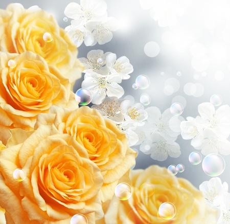 yellow roses: Tarjeta con rosas amarillas
