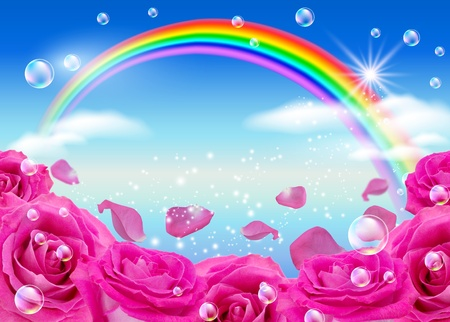 Roses, rainbow and bubbles against the sky Stock Photo