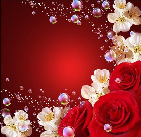 Róże, białe kwiaty i bąbelki