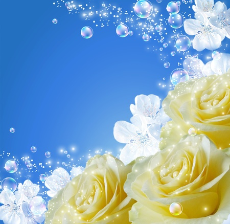 Roses, white flowers and bubbles