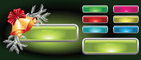 Set of web buttons with christmas bells Vector