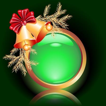fur tree: Pulsante Web con campane di Natale
