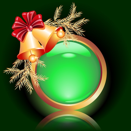 Web button with christmas bells Stock Vector - 11288341