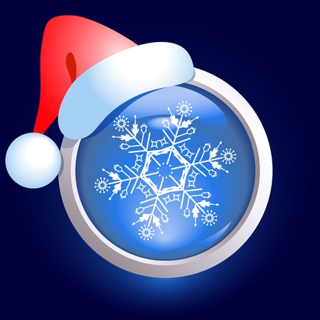 Christmas web button with  snowflake and santa cap Stock Vector - 11288337