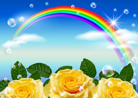 Roses, rainbow and bubbles against the sky photo