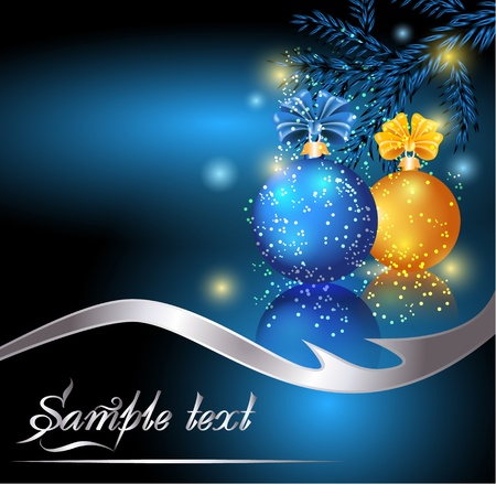 blue sphere: Christmas card with blue and yellow balls