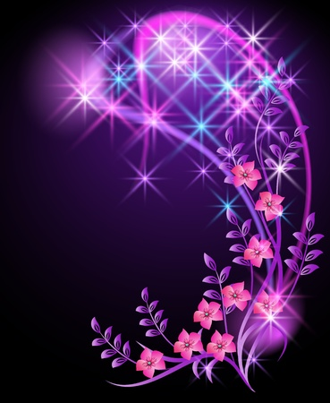 Glowing background with flowers and stars Stock Vector - 11288370