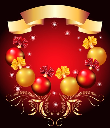 Christmas card with red and yellow balls Stock Vector - 11288365