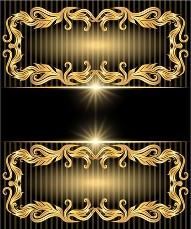 caption: Background with golden ornament and stars