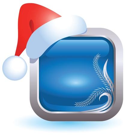 Christmas web button with santa cap Vector