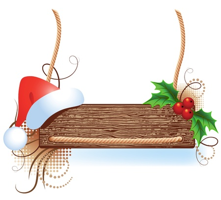 ration: Christmas wooden signboard with santa hat and holly berries Illustration