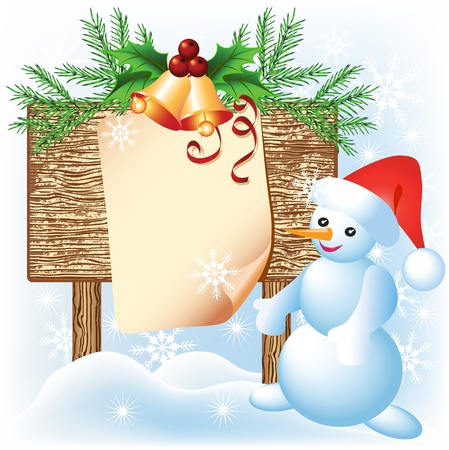 Christmas wooden signboard and Snowman Vector