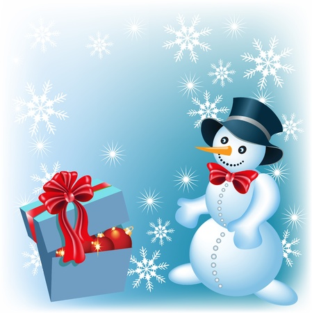 Christmas background with  snowman and signboard gift box Vector