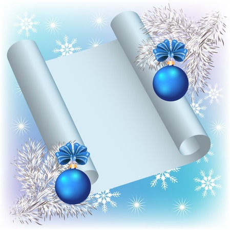 christmas fur tree: Christmas background with parchment and balls