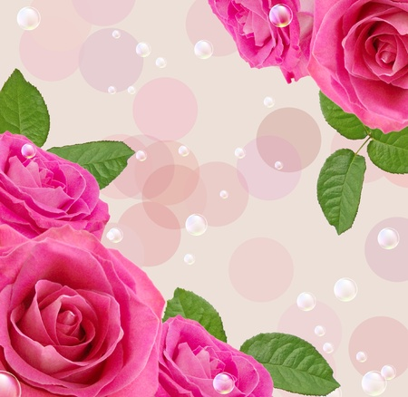 Card with roses and bubbles