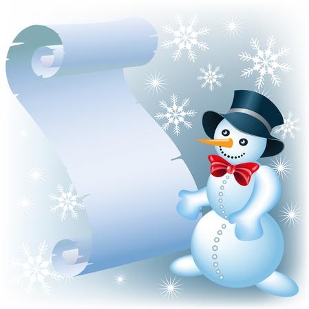 Christmas scroll and Snowman Vector