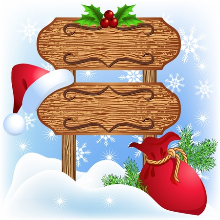 new year's cap: Christmas wooden signboard with santa hat and bag
