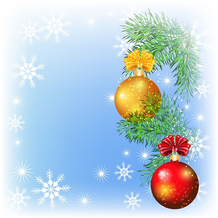 tree toys: Christmas card with red and yellow balls