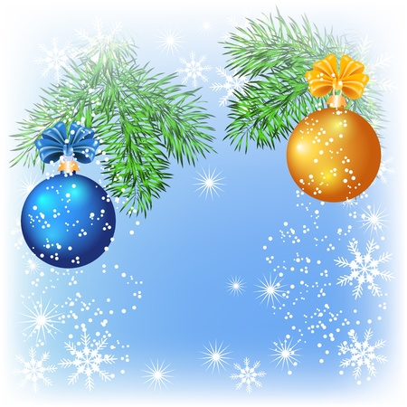 Christmas card with blue and yellow balls Vector