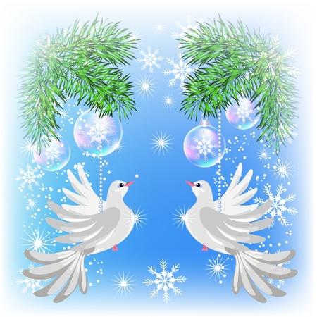 fur tree: Cartolina di Natale con i piccioni e palline trasparenti