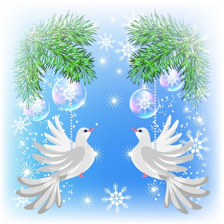Christmas card with pigeons and transparent balls Vector