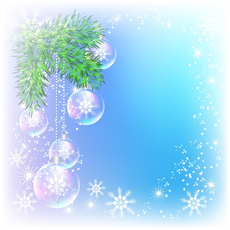 Christmas card with transparent balls Vector