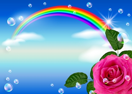Rose, rainbow and bubbles against the sky photo