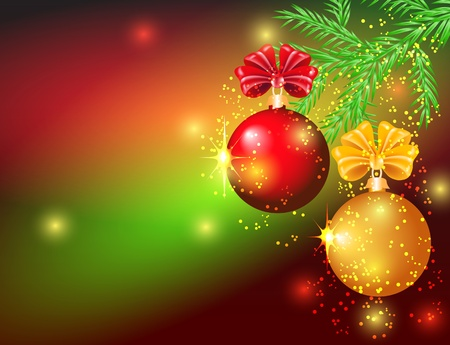 decorated christmas tree: Christmas card with red and yellow balls