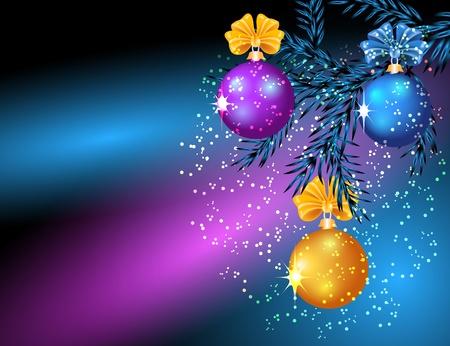 Kerstkaart met rode en gele ballen