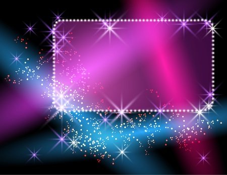 light beams: Glowing background with signboard, stars and rays