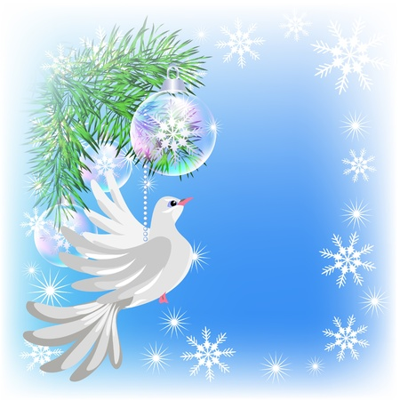 Christmas card with pigeon and transparent balls Vector