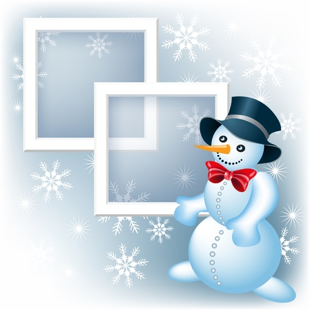 Page layout photo frame with snowman Vector