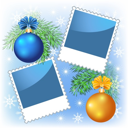 Page layout photo frame with blue and yellow Christmas balls Stock Vector - 11466466